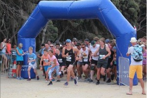 Lots of kids at the start of the Roo Run Anglesea